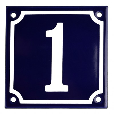 Enamel sign 1 blue - white 10 x 10 cm model 11