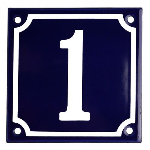 Emaljskylt 1 blå - vit 10 x 10 cm modell 11