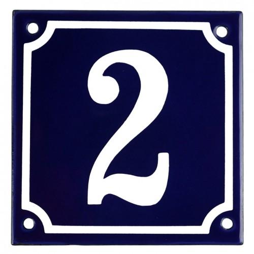 Emaljskylt 2 blå - vit 10 x 10 cm modell 11