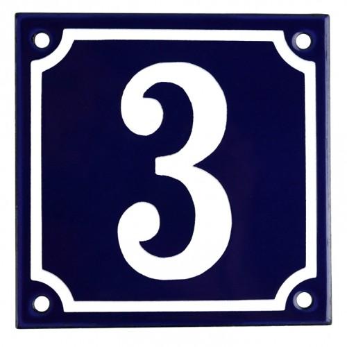 Emaljskylt 3 blå - vit 10 x 10 cm modell 11