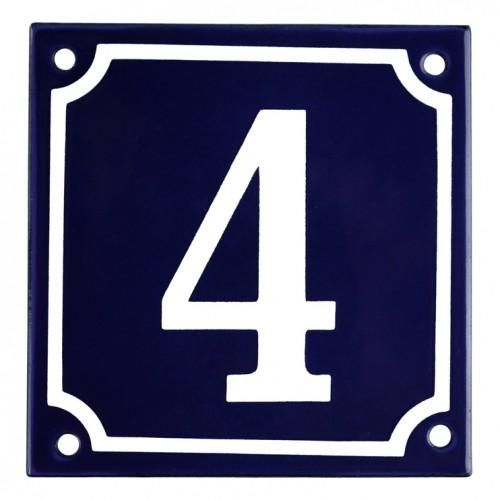 Emaljskylt 4 blå - vit 10 x 10 cm modell 11