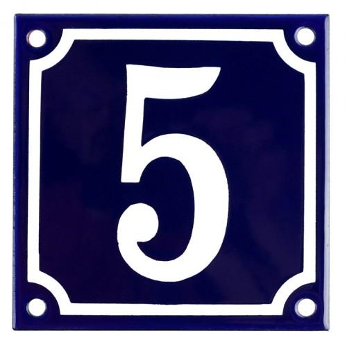 Emaljskylt 5 blå - vit 10 x 10 cm modell 11