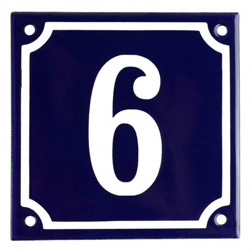 Emaljskylt 6 blå - vit 10 x 10 cm modell 11