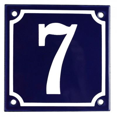 Enamel sign 7 blue - white 10 x 10 cm model 11