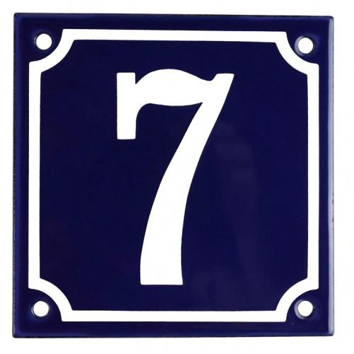 Emaljskylt 7 blå - vit 10 x 10 cm modell 11