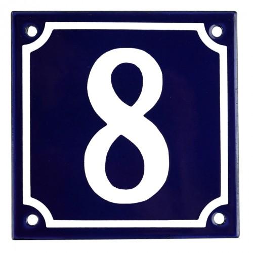 Emaljskylt 8 blå - vit 10 x 10 cm modell 11