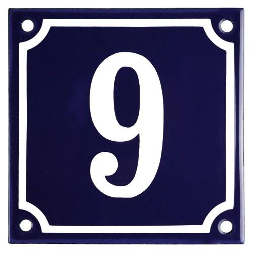 Emaljskylt 9 blå - vit 10 x 10 cm modell 11