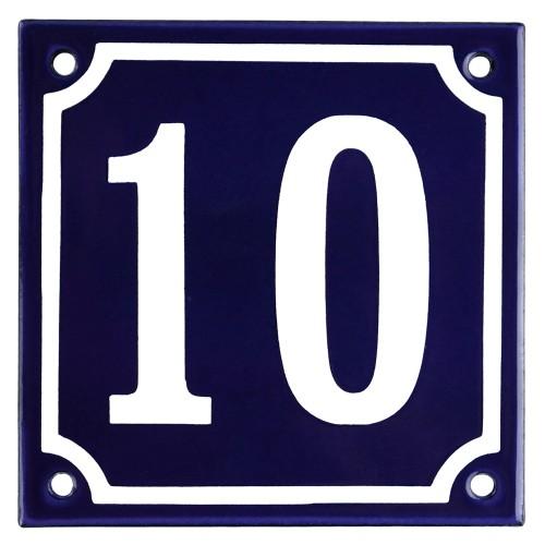 Emaljskylt 10 blå - vit 10 x 10 cm modell 11