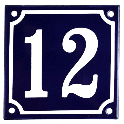 Enamel sign 12 blue - white 10 x 10 cm model 11