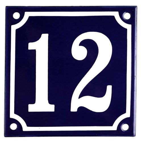 Emaljskylt 12 blå - vit 10 x 10 cm modell 11