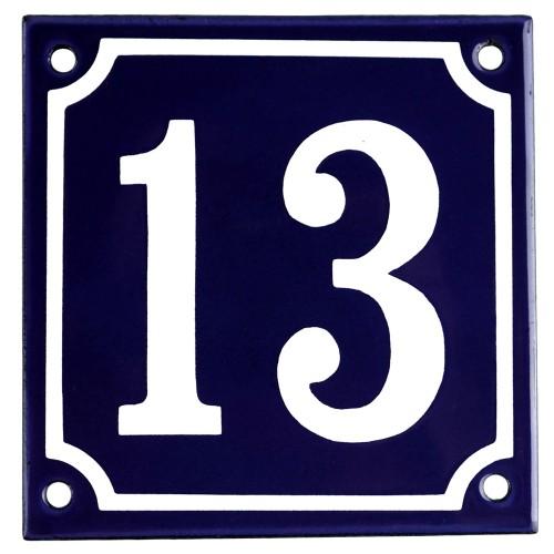 Emaljskylt 13 blå - vit 10 x 10 cm modell 11