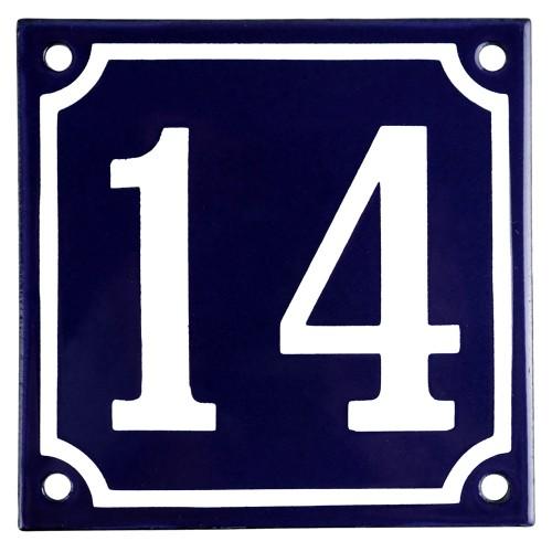 Emaljskylt 14 blå - vit 10 x 10 cm modell 11