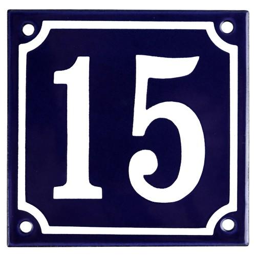 Emaljskylt 15 blå - vit 10 x 10 cm modell 11