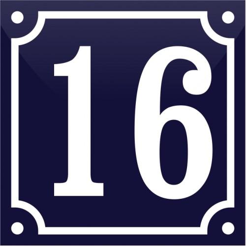 Emaljskylt 16 blå - vit 10 x 10 cm modell 11