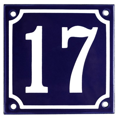 Enamel sign 17 blue - white 10 x 10 cm model 11