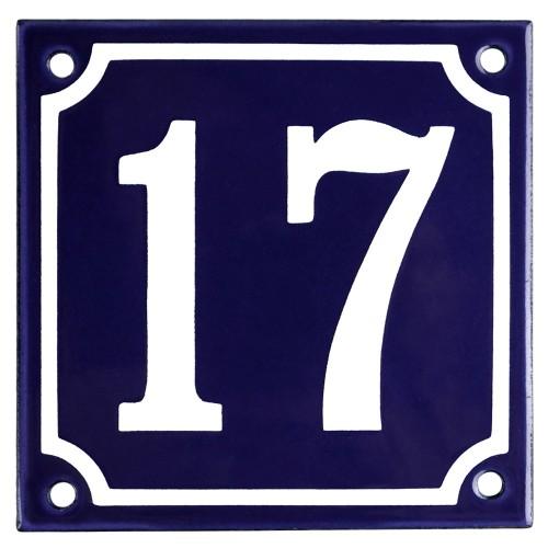 Emaljskylt 17 blå - vit 10 x 10 cm modell 11