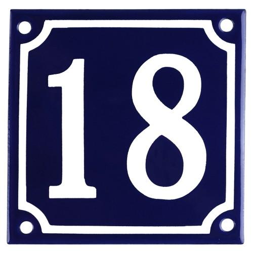 Emaljskylt 18 blå - vit 10 x 10 cm modell 11