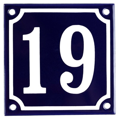 Enamel sign 19 blue - white 10 x 10 cm model 11