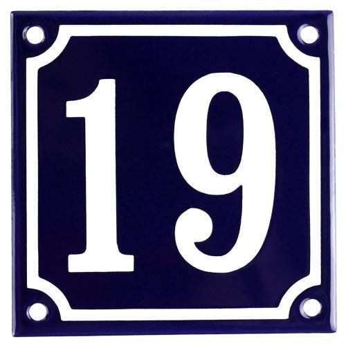 Emaljskylt 19 blå - vit 10 x 10 cm modell 11