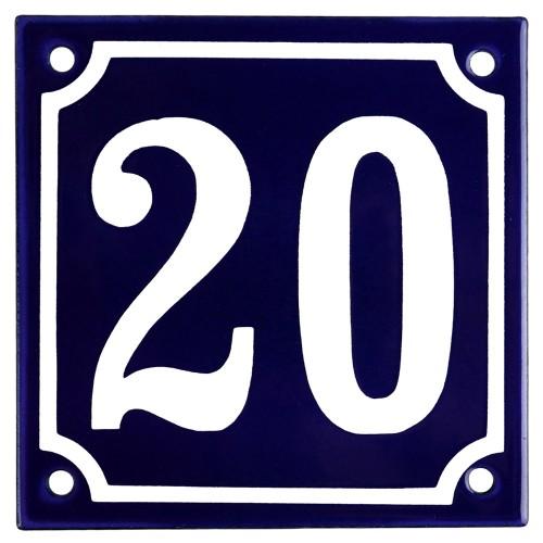 Emaljskylt 20 blå - vit 10 x 10 cm modell 11