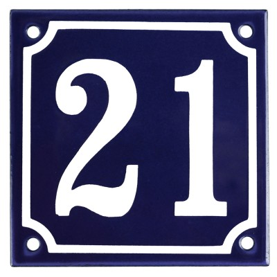 Enamel sign 21 blue - white 10 x 10 cm model 11