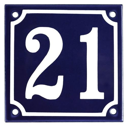 Emaljskylt 21 blå - vit 10 x 10 cm modell 11