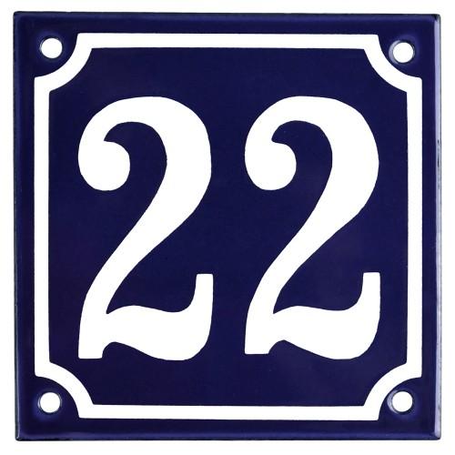 Emaljskylt 22 blå - vit 10 x 10 cm modell 11