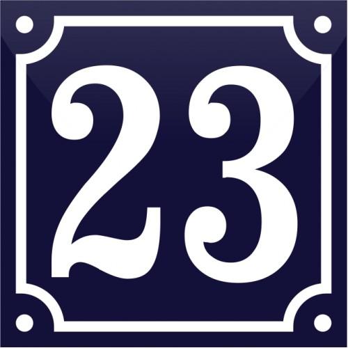 Emaljskylt 23 blå - vit 10 x 10 cm modell 11