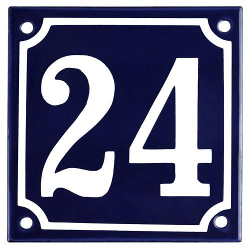 Emaljskylt 24 blå - vit 10 x 10 cm modell 11