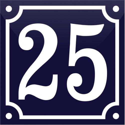Emaljskylt 25 blå - vit 10 x 10 cm modell 11