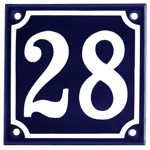 Emaljskylt 28 blå - vit 10 x 10 cm modell 11