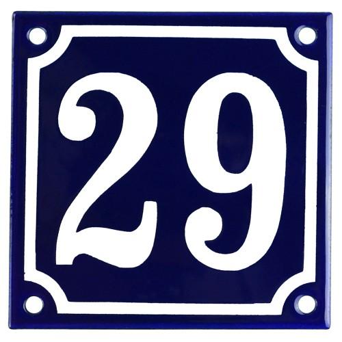 Emaljskylt 29 blå - vit 10 x 10 cm modell 11