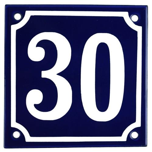 Emaljskylt 30 blå - vit 10 x 10 cm modell 11