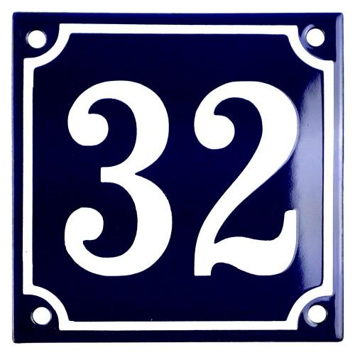 Emaljskylt 32 blå - vit 10 x 10 cm modell 11