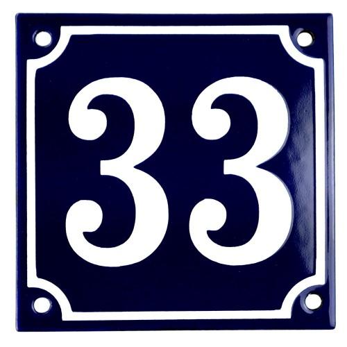 Emaljskylt 33 blå - vit 10 x 10 cm modell 11