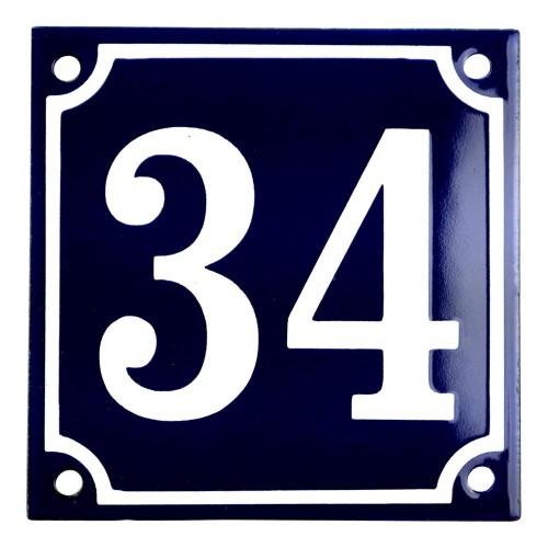 Emaljskylt 34 blå - vit 10 x 10 cm modell 11