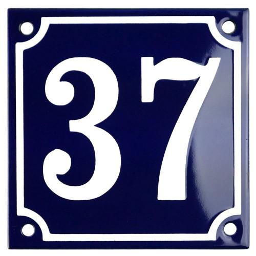 Emaljskylt 37 blå - vit 10 x 10 cm modell 11