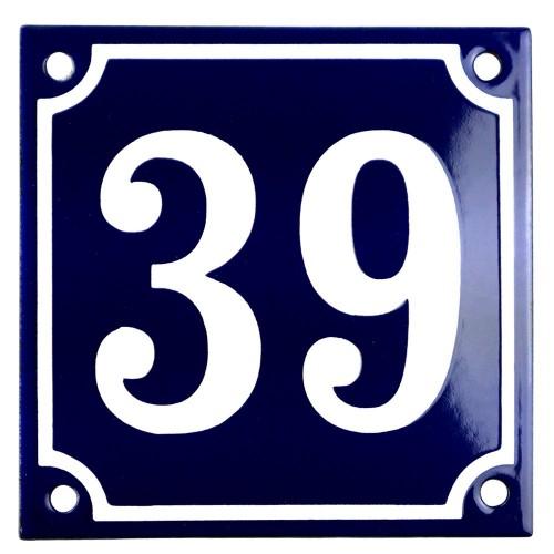 Emaljskylt 39 blå - vit 10 x 10 cm modell 11
