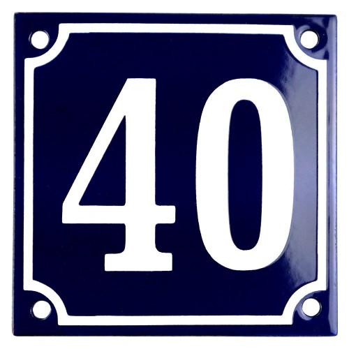 Emaljskylt 40 blå - vit 10 x 10 cm modell 11