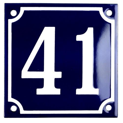 Emaljskylt 41 blå - vit 10 x 10 cm modell 11