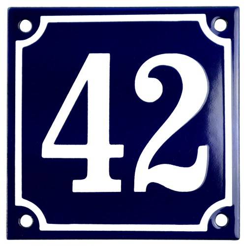 Emaljskylt 42 blå - vit 10 x 10 cm modell 11