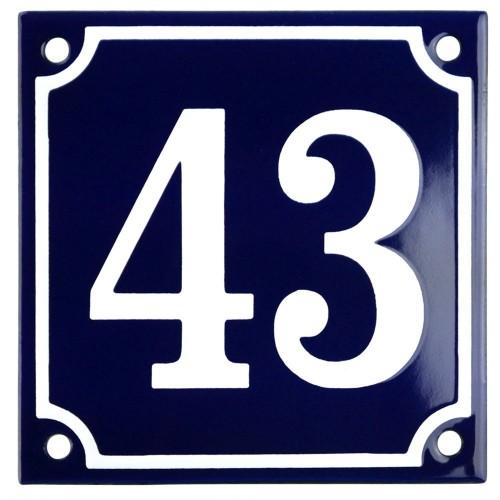 Emaljskylt 43 blå - vit 10 x 10 cm modell 11