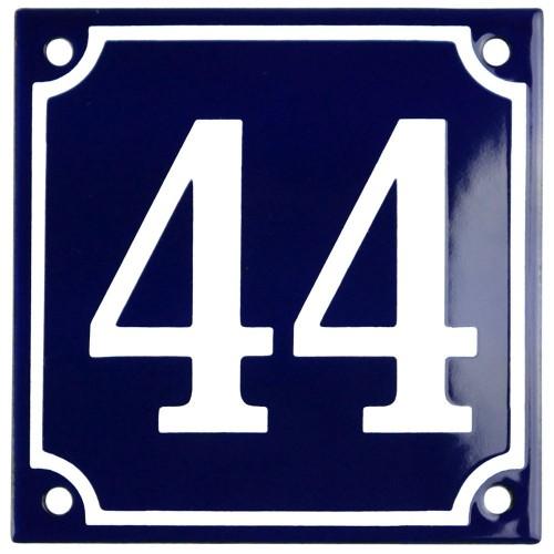 Emaljskylt 44 blå - vit 10 x 10 cm modell 11
