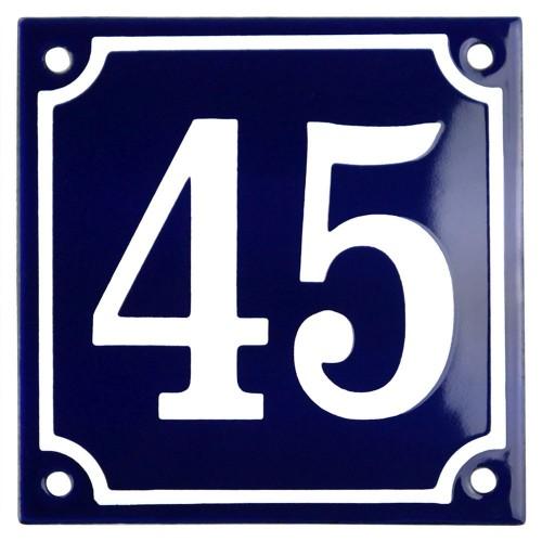 Emaljskylt 45 blå - vit 10 x 10 cm modell 11