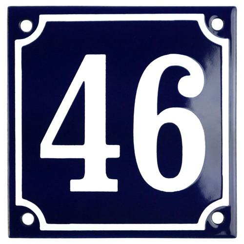 Emaljskylt 46 blå - vit 10 x 10 cm modell 11