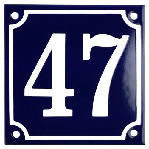 Emaljskylt 47 blå - vit 10 x 10 cm modell 11
