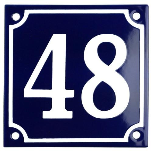 Emaljskylt 48 blå - vit 10 x 10 cm modell 11