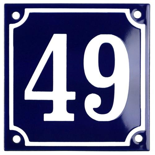 Emaljskylt 49 blå - vit 10 x 10 cm modell 11