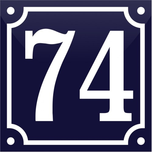 Emaljskylt 74 blå - vit 10 x 10 cm modell 11