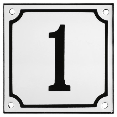 Enamel sign 1 white - black 10 x 10 cm model 10
